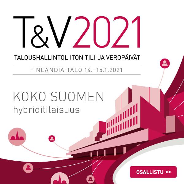 Taloushallintoliiton Tili- ja veropäivät pidetään Finlandia-talolla 14.-15.1.2021. Osallistu koko Suomen hybriditilaisuuteen.