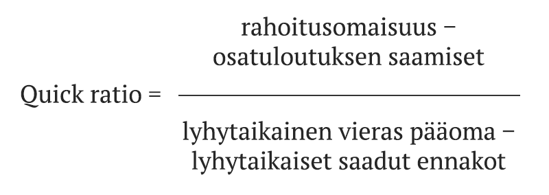 Quick ratio = (Rahoitusomaisuus – osatuloutuksen saamiset) / (Lyhytaikainen vieras pääoma – lyhytaikaiset saadut ennakot)