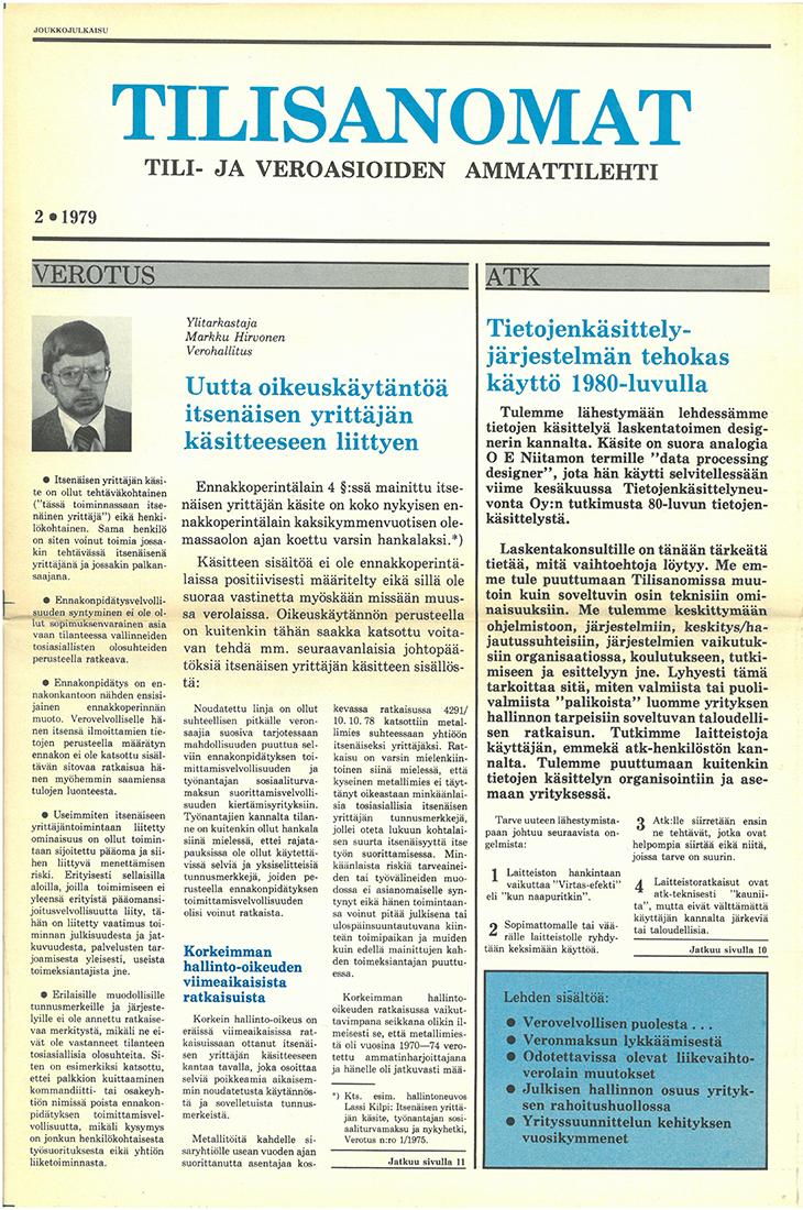 Tilisanomat-lehden kansi, numero 2/1079