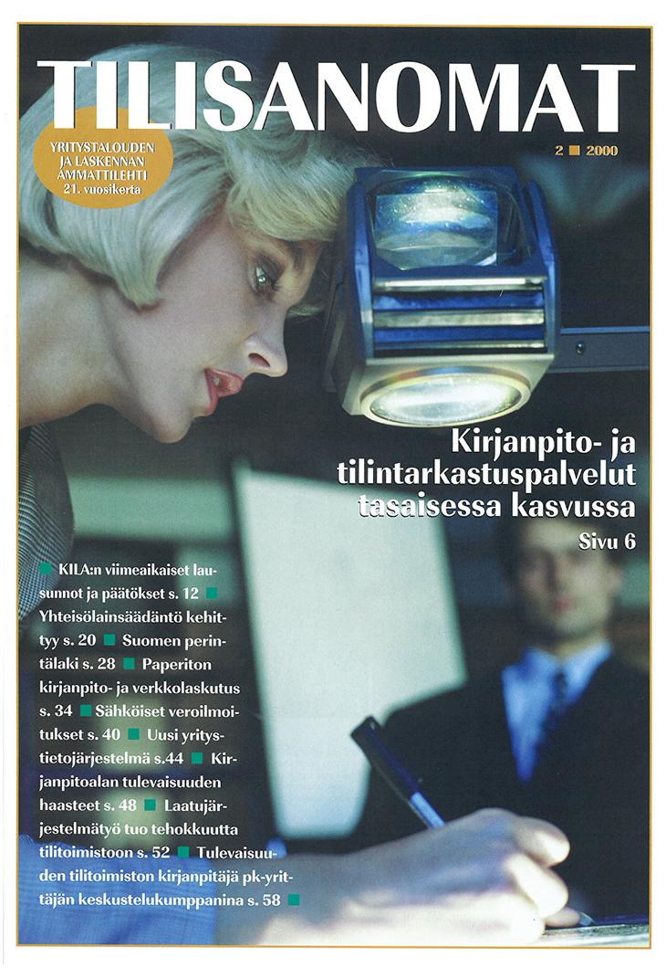 Tilisanomat-lehden kansi, numero 2/2000