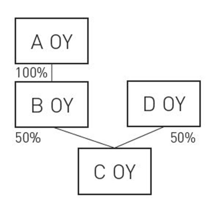 kaaviokuva yritysten suhteista